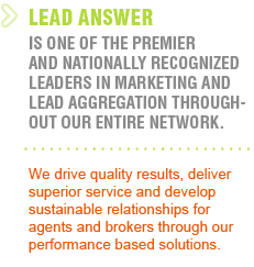 Lead Answer premier nationally recognized leaders in marketing and lead aggregation- mortgage leads, live transfer debt leads, internet mortgage lead, Trigger Mortgage Lead